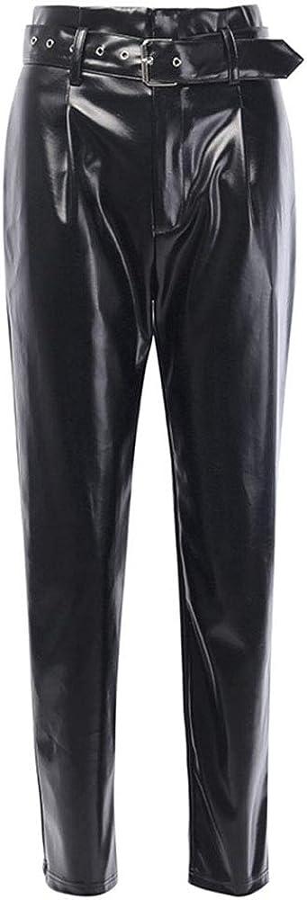kewing Pantalones de Cuero Ocasionales de Las Mujeres Estilo de los Amigos del Muchacho de Las Mujeres Cintura Alta Cuero de la PU Recto con cinturón