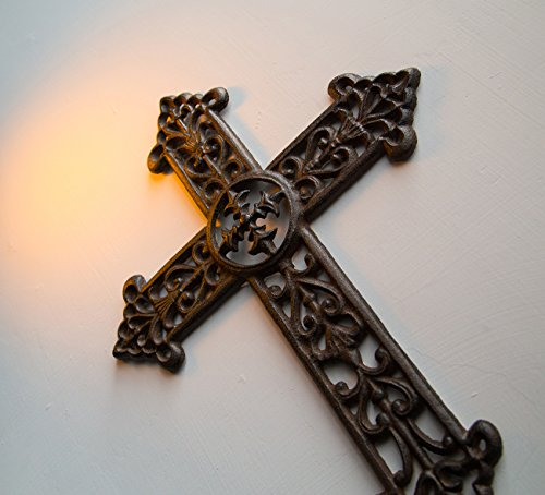 Juvale Wrought Iron Cross Decoration - Rustic Celtic Cross, Metal Cross for Christian and Religious Art Lovers, Dark Bronze, 15 x 11.3 x 0.5 Inches