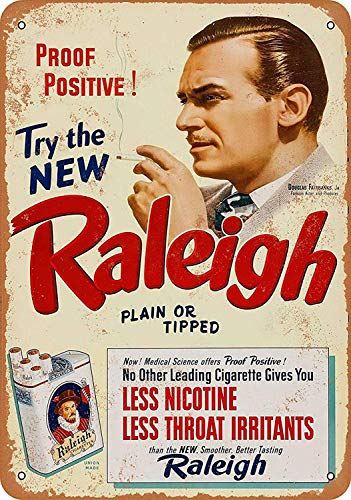 Raleigh Cigarettes Tin Warning Plaque Metal Art Sign Vintage Foil Poster Beach Food Building Plant Animal Sitting Room Store Cinema Stadium Gift (Store Raleigh Room)