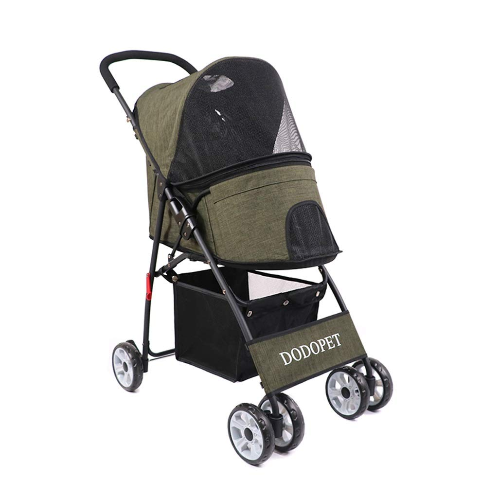 ArmyGreen Pet Out Lightweight Portable Quick-Fold Small Stroller Extended Breathable Canopy, Large Storage Basket (color   ArmyGreen)