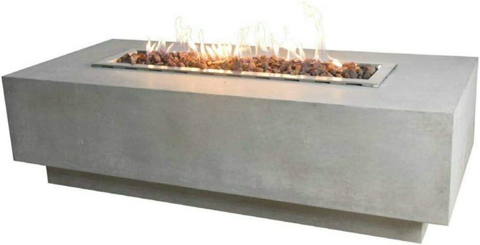 Elementi Granville Fire Table Cast Concrete Natural Gas Fire Table, Outdoor Fire Pit Fire Table Patio Furniture, 45,000 BTU Auto-Ignition, Stainless Steel Burner, Lava Rock Included
