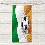 smallbeefly Irish Sports Towel Sports Theme Soccer Ball in a Net Game Goal with Ireland National Flag Victory Win Absorbent Towel Multicolor Size: W 35.5'' x L 15''