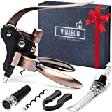 VINABON Wine Opener Set - Premium 2019 All-In-One Wine Bottle Opener Kit - Lever Wine Opener Corkscrew Set - Wine Opener Kit - Cute Rabbit Manual Wine Cork Remover Set for Women Men - eBook WineGuide