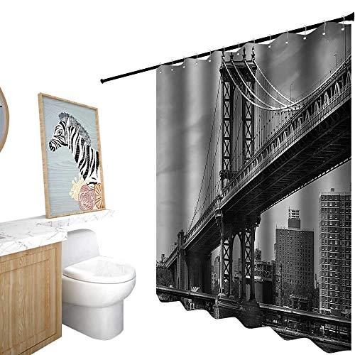 StarsART Shower Curtains for Bathroom Waterproof,New York,Bridge of NYC Vintage East Hudson River Image USA Travel Top Place City Photo Art Print,Shower Curtain for Girls Bathroom,W36 x L72,Grey ()