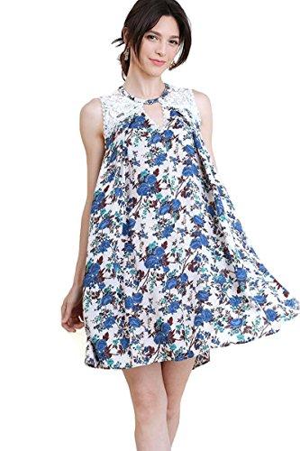 - Umgee Women's Floral & Stripe Lace Keyhole Dress (XL, Blue)