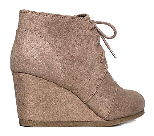 J. Adams Wedge Stiefelette - Low Heel Bootie - Lässige bequeme Schnür-Ferse - Fashion Short Heeled Damen Bootie Licht Taupe Isu