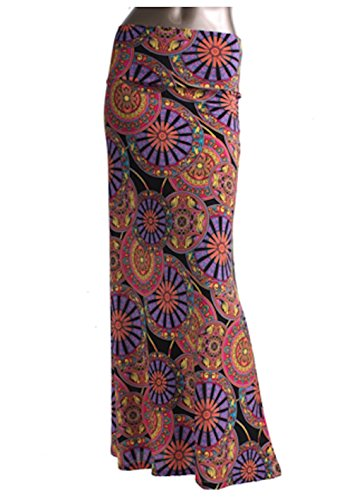 Azules Women's Poly Span Multiple Selection Print Maxi Skirt (M, E74)