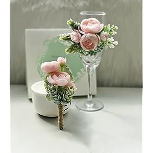 Artificial Succulent Boutonniere Bouquet Corsage Wristlet Vintage Silk Fake Pink Flowers flocked Plants For Wedding Decor 4 Pcs 4