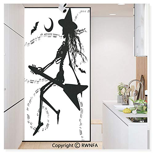 RWN Film Window Films Privacy Glass Sticker Witch Flying on Electric Guitar Notes Bat Magical Halloween Artistic Illustration Static Decorative Heat Control Anti UV 30In by 59.8In,Black White ()