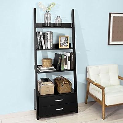 SoBuy® FRG230-Sch Estantería de pared tipo escalera, 3 niveles y 2 cajones – negro: Amazon.es: Hogar