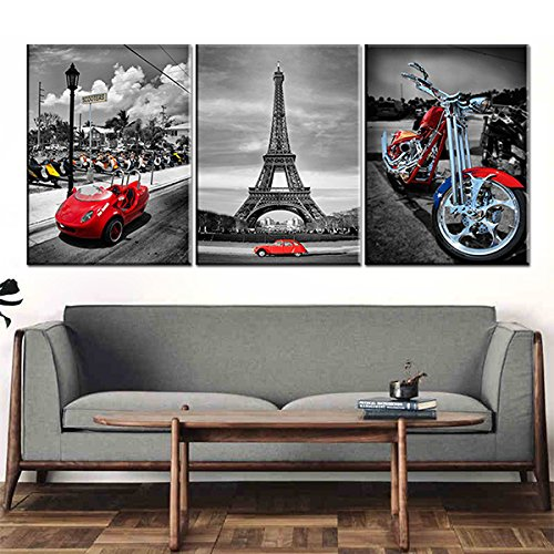 YPY Eiffel Tower Wall Art Red Car Motorcycle Picture Prints On Canvas for Home Bedroom Decoration 3 Panels