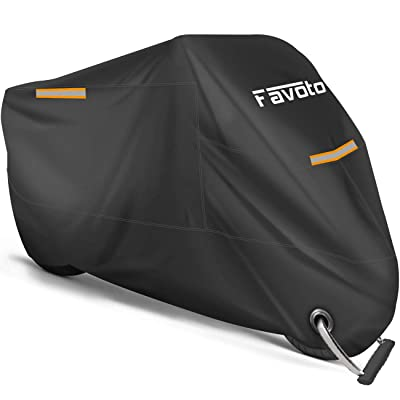 """Favoto Motorcycle Cover All Season Universal Weather Premium Quality Waterproof Sun Outdoor Protection Durable Night Reflective with Lock-Holes & Storage Bag Fits up to 96.5"""" Motorcycles Vehicle Cover: Automotive"""