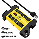 CRST 10-Outlets Heavy-Duty Metal Power Strip with 15 Amps, 15-Foot Power Cord 2800 Joules for Garden, Kitchen, Office, School, ETL Listed(3165047) (10-Outlet, Yellow)