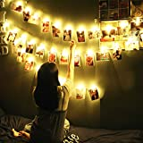 LED Photo Chip String Lights 20 LED 13.3 Feet with 20 Clear Chips Battery Operated Christmas Lights Indoor Fairy Lights for Hanging Pictures, Artwork, Memos and Card Warm White