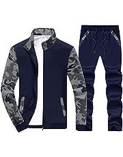 LACSINMO Men's Tracksuit Camo Full Zip Jogging Sweatsuits Athletic Active Sports Set with Zipper Pockets