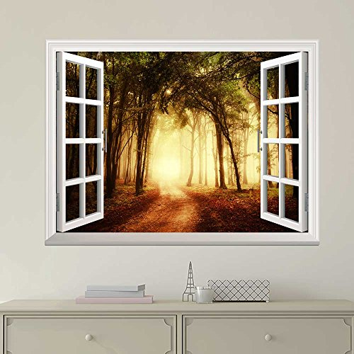 White Window Looking Out Into a Road That Leads to a Bright Forest Wall Mural