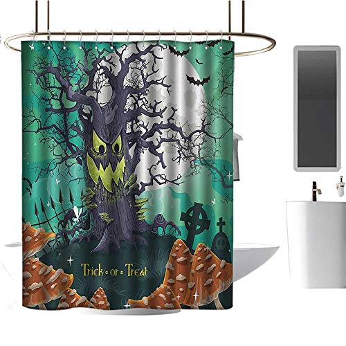 Qenuan Polyester Shower Curtain Halloween,Trick or Treat Dead
