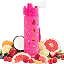 BOZ Premium Glass Fruit Infuser Water Bottle - BPA-Free, Silicone Casing - Fruit Infused Water with Recipe eBook