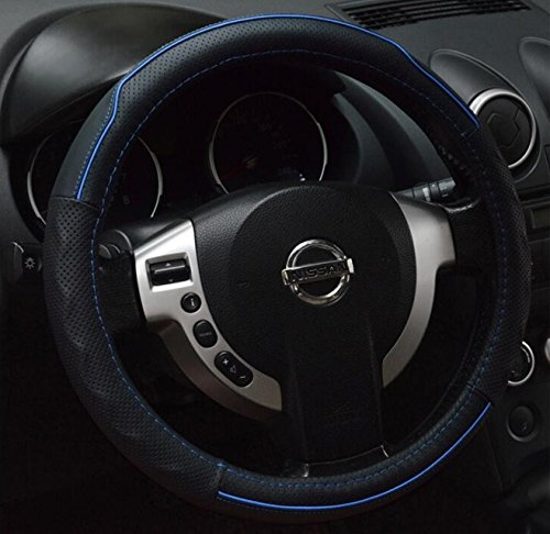 Black and Blue Colors Genuine Leather Steering Wheel Cover Sport Car Steering-Wheels Covers Auto Accessories Car Styling 15