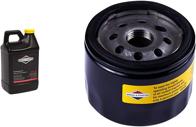 Briggs & Stratton 30W Engine Oil - 48 Oz. 100028 & 492932S Oil Filter,Black