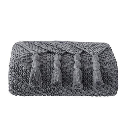 Battilo 100% Cotton Knitted Throws and Blankets for Sofa Couch Bed Multiple Used Special Tassels Blanket Lightweight Throw Four-Season Use (Grey, 51