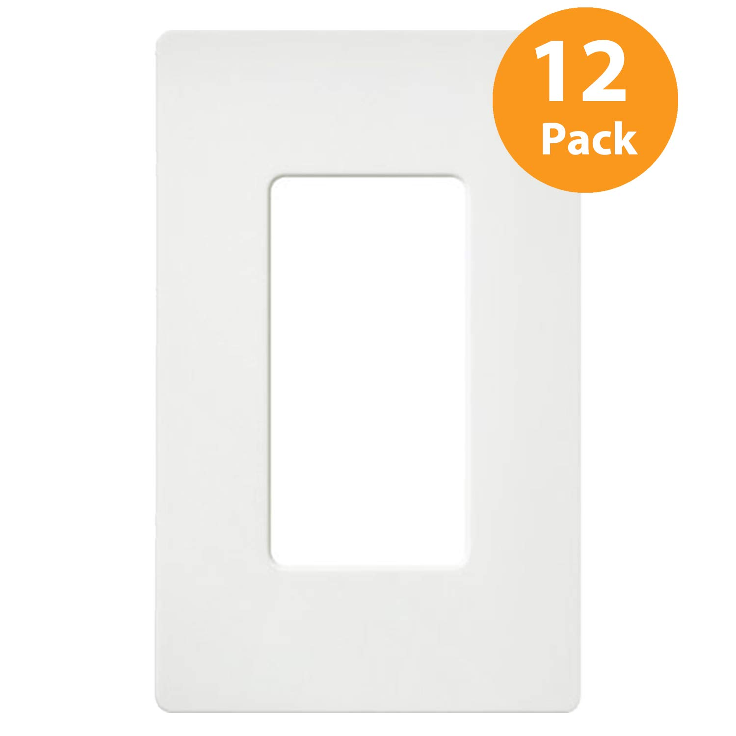 Hidden Screws 12-Pack Standard Size Outlet Covers for GFCIs Decor Receptacles and Light Switches Child Safe White 1-Gang Screwless Wall Plates by ELECTECK UL Listed Unbreakable