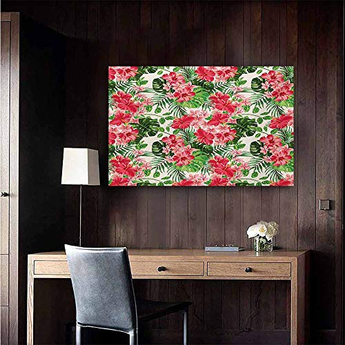 (duommhome Floral Art Oil Paintings Tropical Botanic Flowers Leaves Ivy Island Hawaiian Image Canvas Prints for Home Decorations 20