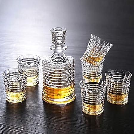 GAOXIAOMEI Stripe Whisky Decanter Barrel Decanter Set para Licor, Whisky, Bourbon, Brandy, Vodka Licor Decanter Regalos De Inauguración De La Casa, Regalos De Jefe, Regalos De Jubilación