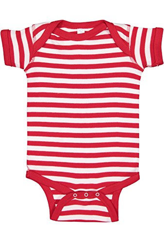 Rabbit Skins Infant 100% Cotton Baby Rib Lap Shoulder Short Sleeve Bodysuit (Red/White Stripe, 6 Months) -