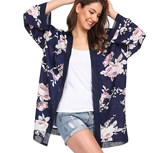 (Women Kimono Cardigan Floral Printed Casual Loose Beachwear Cover ups Tops(Colour3))