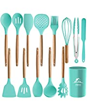 MIBOTE 12 Pcs Silicone Cooking Kitchen Utensils Set with Holder, Wooden Handles Cooking Tool BPA Free Non Toxic Turner Tongs Spatula Spoon Kitchen Gadgets Set for Nonstick Cookware (Green)