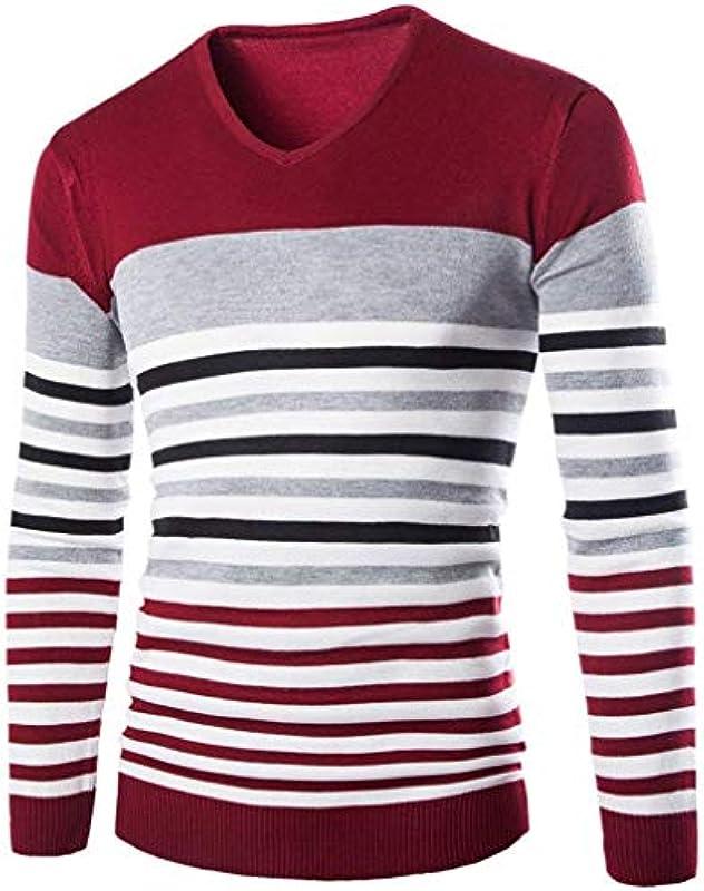 Męski sweter z dzianiny Knit paski sweter Basic wiosna jesień Troyer sweter elegancki długi rękaw dekolt w serek sweter dziergany: Odzież