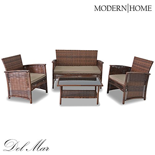 Modern Home Del Mar Woven Wicker 4pc Patio Set Import It All