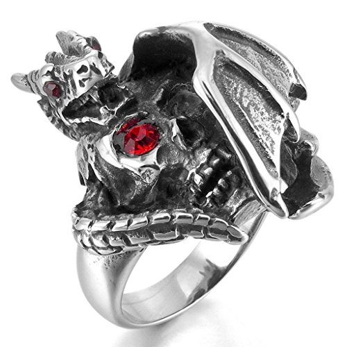 [Apluto Rings for Men 316L Stainless Steel Glass Silver Skull Dragon Bat Wing Gothic Size 12] (Bat Wings Costume Template)