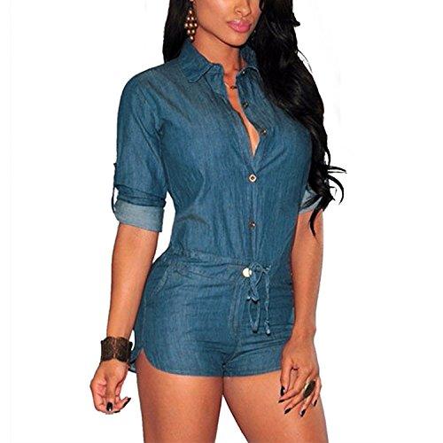 Lisli Women Denim Long Sleeve Jeans Jumpsuit Bodysuit Shorts Romper Playsuit (M)