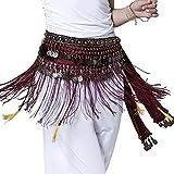 Pilot-trade Women's Big Noise Belly Dance Tribe National Style Belt Tassel Hip Scarfs Velvet Waist Rose red