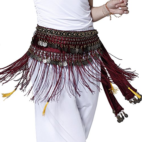 Pilot-trade Women's Big Noise Belly Dance Tribe National Style Belt Tassel Hip Scarfs Velvet Waist Rose red for $<!--$9.99-->