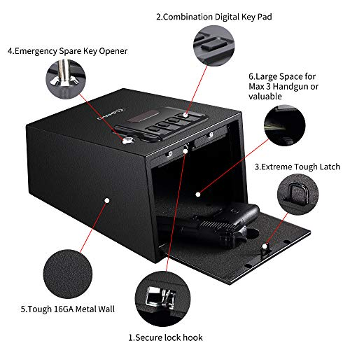 Champs Gun Safe Solid Steel Quick Access Electronic Pistol Safe with Auto-Open Lid, Wall Mount Bracket, Anti-Thief Alarm System by Champs (Image #1)