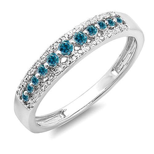 0.25 Carat (ctw) 14K Gold Round Blue & White Diamond Ladies Anniversary Wedding Band Ring 1/4 CT