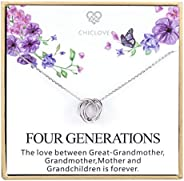 Four Generations Necklace for Great Grandmother - Sterling Silver Four Circles Generation Necklace Gifts for G
