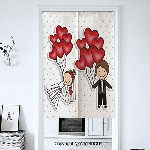 (AngelDOU Wedding Decorations Home Doorway Curtains Decorative Screen Funny Cute Cartoon Style Newlyweds with Heart Shaped Balloons Dots for Hallway Kitchen Hotel Restaurant. 39.3x59 inches)