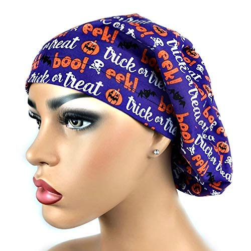 Womens Surgical Scrub Hat OR Nurse Cap Euro Style Adjustable Halloween Trick or Treat]()