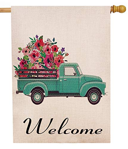 Welcome Decorative Flag - Selmad Summer Flower Truck 28 x 40 House Flag Decorative Farmhouse Décor, Spring Large Garden Flag Double Sided, Floral Welcome Old Farm Pickup Yard Decoration, Rustic Burlap Seasonal Outdoor Flag