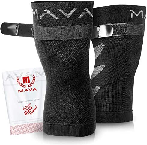 Mava Sports Knee Brace (Pair) with Adjustable Strap -Does NOT ROLL Down- Best Compression Knee Sleeve – All Day Wear Knee Support for MCL, ACL Rehab, Running, Joint Pain & Arthritis