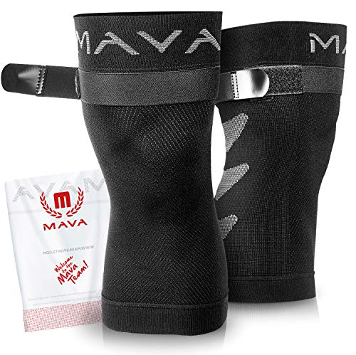 Mava Sports Knee Brace (Pair) with Adjustable Strap -Does NOT ROLL Down- Best Compression Knee Sleeve - All Day Wear Knee Support for MCL, ACL Rehab, Running, Joint Pain & Arthritis ()