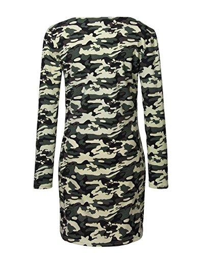 Yidarton Damen Langarmshirt Mode V-Ausshnitt Bluse Schlanken Lässige Bluse Tarnung Print Tops Minikleid