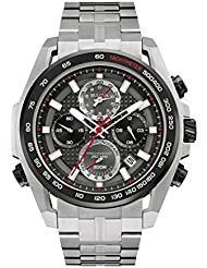 Bulova Mens Quartz Stainless Steel Dress Watch, Color:Silver-Toned (Model: 98B270)