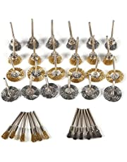 36pcs Brass Stainless Steel Wire Wheel Brush Set Cleaning Polishing Wheels Kit for Dremel Rotary Tools