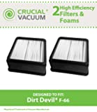 2 Dirt Devil F66 (F-66) Filters & Foam Filters Insert Fits Dirt Devil Featherlite Upright Model UD70100; Compare To Dirt Devil F66 Part # 304708001; Designed & Engineered By Crucial Vacuum