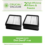 2 Dirt Devil F66 Filter Kits w/ HEPA Filter & Foam Pre-filter; Compare to Dirt Devil Part No. 304708001; Designed & Engineered By Think Crucial